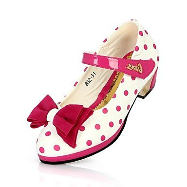 LIDOG Décontracté Soirée & Evénement-Noir Rouge-Talon Bas-Light Up Chaussures-Chaussures à Talons-Similicuir Red