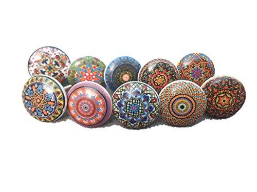 20 pomos de cerámica para puerta de armario, cajón, cajón, estilo vintage con diseño de flores, modelo Xfer 002