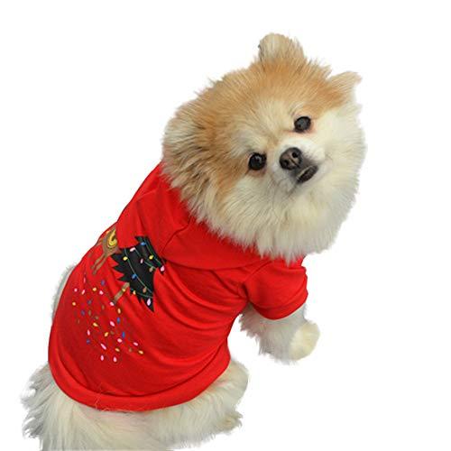 (OHQ Haustiere Kleidung Christmas Drucken T Shirt Sweater Hunde Bekleidung Winterkleidung Warmer Pullover Sweatshirt)