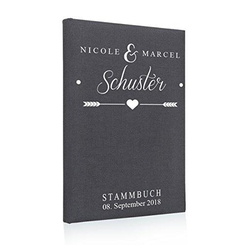 Stammbuch der Familie, Familienstammbuch, Buchbinderleinen grau, Nr. 133 inkl. Personalisierung