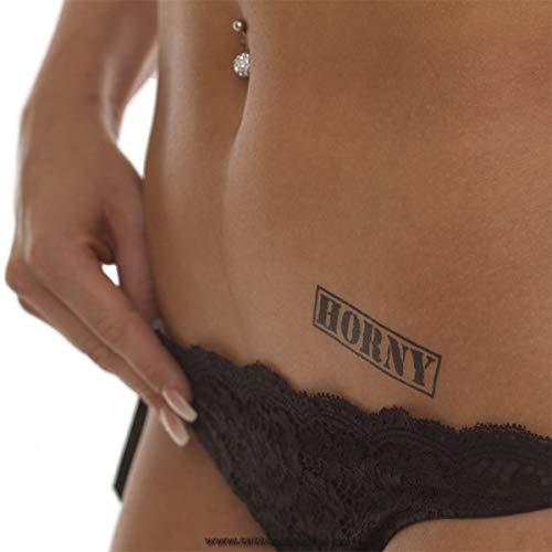 2 x Horny Stempel Tattoo - schwarzer Schriftzug klein - Sexy Kinky Fetisch Tattoo (2)