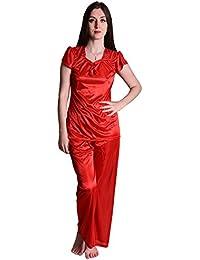 Senslife Soft & Smooth Satin Solid Nightwear Cap Sleeve Night Suit Top & Pajama Set SL008