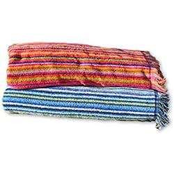 Secaneta Pack 2 Toallas Playa con Flecos de 100x170 cm, Tejido Algodón 100%, Mikonos, 100 x 170 cm