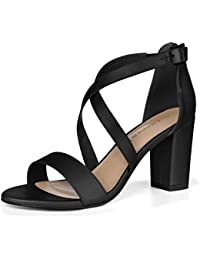 Allegra K Damen Chunky Ansatz Kreuz Gurt Kleid Sandalen Einstellbar Sandalette Schuhe