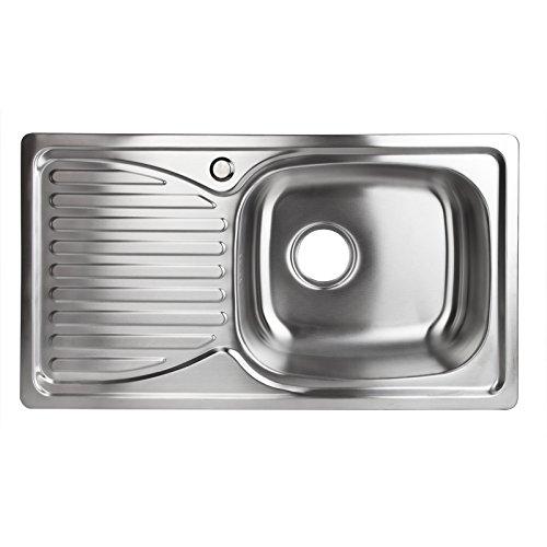 Stabilo-Sanitaer Einbauspüle aus hochwertigem Edelstahl, Spülbecken rechteckig, Ablagefläche links, klassische Küchenspüle in schönen und zeitlos modernen Design