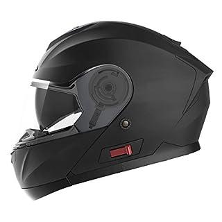 Motorradhelm Klapphelm Integralhelm Fullface Helm - Yema YM-926 Rollerhelm Sturzhelm mit Doppelvisier Sonnenblende ECE für Damen Herren Erwachsene-Schwarz Matt-M