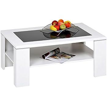 Alfa-Tische Santos M1964 Table basse Avec verre noir et sous-plateau Blanc 100x65cm
