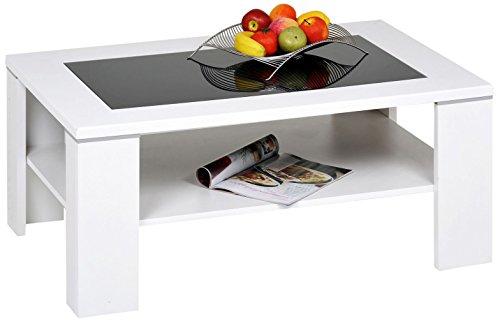 """Alfa-Tische M1964 Couchtisch \""""Santos\"""", 100 x 65 cm, Dekor mit schwarzer Glaseinlage und Ablageboden, weiß"""