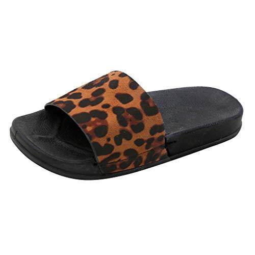 iLPM5 Damen Sommer Mode Retro Roman Leopard Gedruckt Offene Spitze Flache Hausschuhe Casual Home Flip-Flop Strand Schuhe -