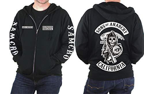"Redwood Men of Mayhem Reaper Kapuzenpulli, ""Sons of Anarchy""-Motiv, mit Reißverschluss, Gr. S - XXXXXL Small Schwarz"