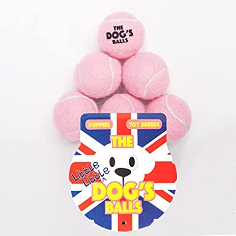 The Little Little Dog's Balls - 6 Tiny Premium Baby Pink Tennis Balls for Dogs, Dog Toy Mini Ball for Your Puppy, Small Dog or Cat. For Puppy Exercise, Puppy Play, Small Dog Play, Puppy Training & Fetch. 6 Authentic Tennis Balls for a Smaller Mouth, Too Small for Chuckit Launchers & No Squeaker, The King Kong of Little Dog Balls! Woof