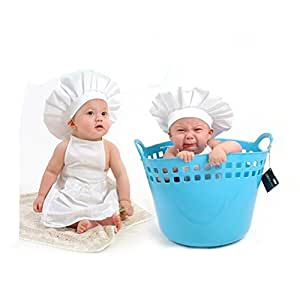 c12775875519c Baby Infant Photo Props Outfits - Cute Little White Cook Chef ...