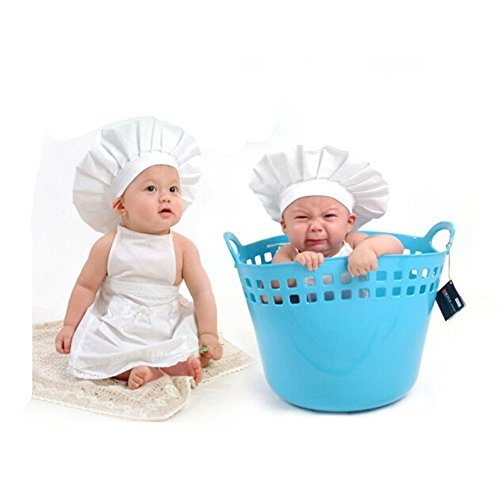 Baby Photo Prop Outfits–Cute Little Cook Chef Uniforme Bianca con Cappello per Neonati Bambina Ragazzi Costume Foto Photography Prop Outfits Gift