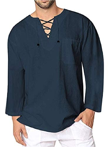 a3c0a8ae4ec015 CuteRose Men Ethnic Style V Neck Lace Up Leisure Loose T-Shirt Top Tees  Navy Blue 2XL