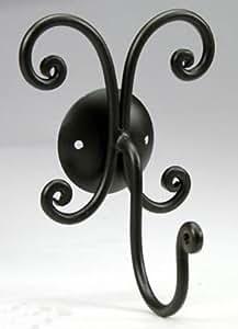 Bagno - Hanger crochet de cintre en fer noir décor forgé, un ensemble complet de salle de bain