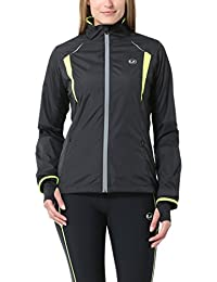 Ultrasport Stretch Delight - Chaqueta de running y ciclismo para mujer, color negro/ amarillo neón, talla XL