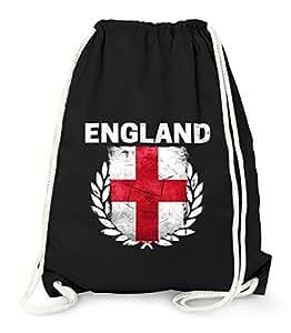 Turnbeutel – Fußball EM 2016 England Flagge Vintage – Gym Bag Moonworks® schwarz unisize