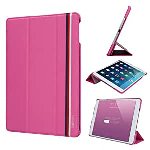 Labato New Arrival Apple iPad Air-5th Generation (Launched 2013) Case-Executive Multi Function Standby Case for Apple iPad Air with Built-in Magnet for Sleep & Awake Feature Rose Red Color lbt-ID5-08H33