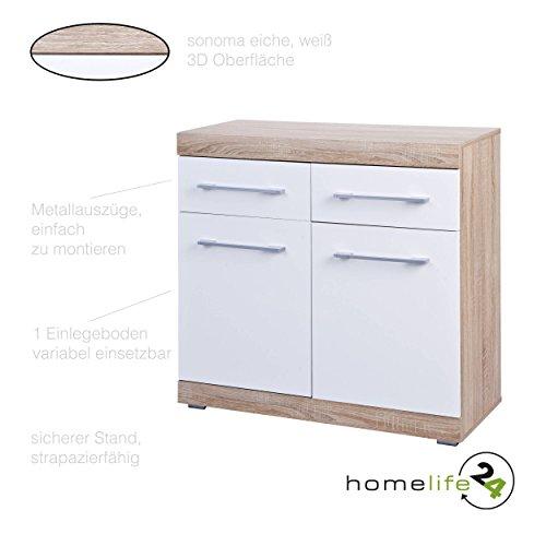 Kommode mit 2 Türen 2 Schubladen mit Metallauszügen Sonoma Eiche weiß Hochglanz Sideboard Mehrzweckschrank Anrichte Diele Flur Esszimmer Wohnzimmer