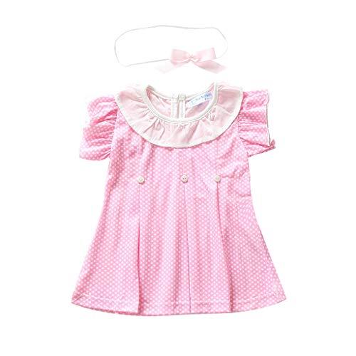 wuayi  Kleinkind Baby Kinder Mädchen Rüschen Geraffte Dot Print Casual Dress + Hairband Kleidung 6 Monate - 3 Jahre Geraffte Dot
