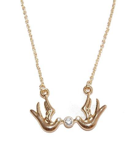 Small Island Halskette, vergoldet, Vogel-Duo, Kristall, klassisch, Elegantes Design, inklusive Geschenkbeutel, einzigartiger Modeschmuck, bleifrei, nickelfrei. -
