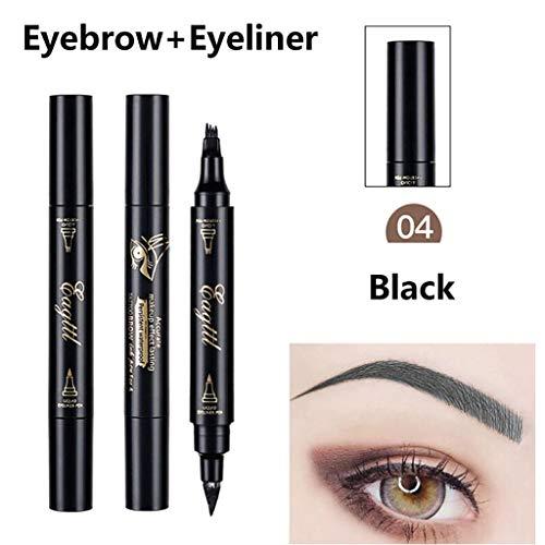 Tattoo Augenbraue Eyebrow Pen langlebig, Feytuo 2 in 1 Make-up wasserdichter Bleistift Gabel Spitze Skizze