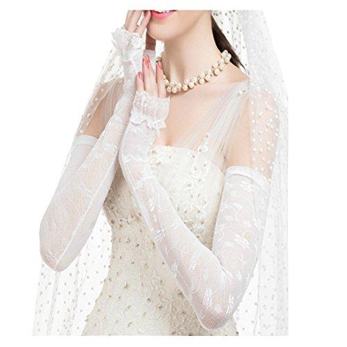 Maitose™ UV-Schutz-Hochzeitskleid Lange Handschuhe Weiß Einheitsgröße