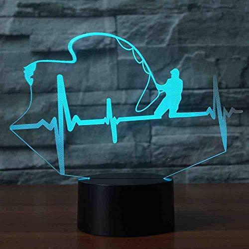 BJDKF Herzschlag Form Tischlampe Led 3D Nachtlicht 7 Farben Ändern Kreative Angeln Enthusiasten Lampe Touch Schalter Kinder Geschenk - Angel-touch-lampe