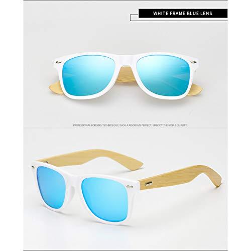 Taiyangcheng Polarisierte Sonnenbrille Männer Bambus Brille Mode Sonnenbrillen Frauen,Weiß Blau
