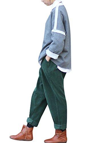 Youlee Frauen-elastische Taille Corduroy Hose mit Taschen Dunkelgrün