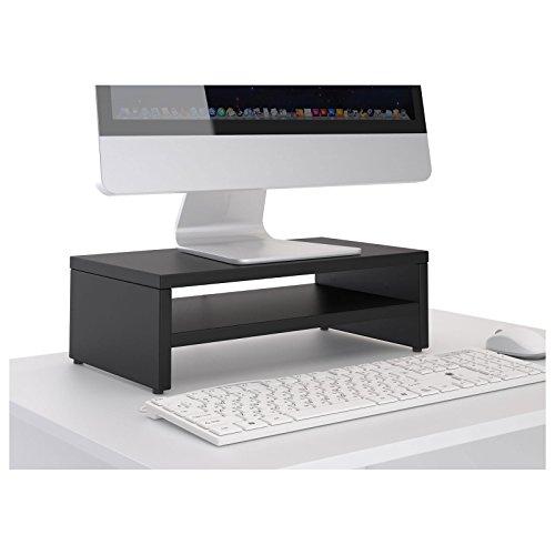 CARO-Möbel Monitorständer SUBIDA Bildschirmaufsatz Schreibtischaufsatz Bildschirmerhöhung mit Ablagefach, in schwarz - 2