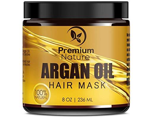 Premium Nature L'Huile D'Argan Cheveux Masque Revitalisant En Profondeur - 236 Ml Congé En Conditionneur Sulfate Sans - Endommagé Et Sèche Cheveux Réparation Et Croissance Tout À Fait Naturelle