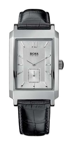 Hugo Boss Mens Stainless Steel Case with Black Leather Strap