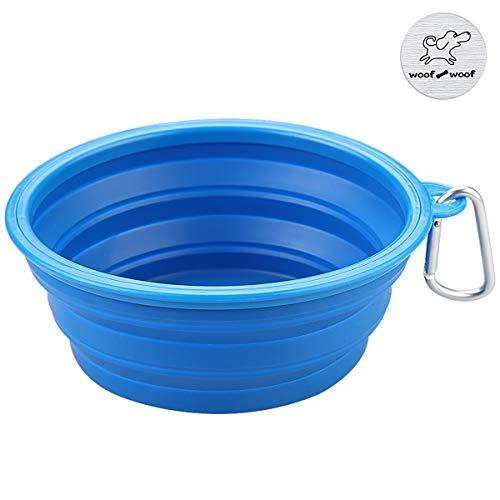 Faltbarer Silikon Hundenapf, WoofWoof Reisen Futter Tragbarer Wassernapf Trinknapf Futternapf für Haustiere ( Blau )
