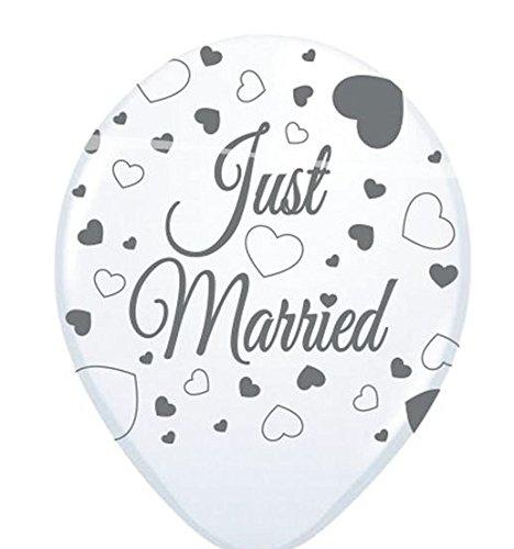 Folat Hochzeit Luftballons Just Married Party-Deko 8 Stück Weiss-grau