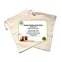 Cold Brew Coffee Maker Filter Premium Organic Cotton Nut Milk Bag Reusable 9.5 x 6 - 2 Pack