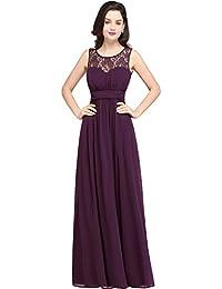 Damen Elegant A-Linie Chiffon Abendkleid Brautjungfernkleid Ballkleid lang 32-46 MisShow