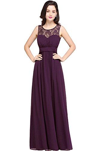 Damen 2017 Elegant Ärmellos Ballkleid Spitze Abendkleid Festkleid lang Dukel Lila 34