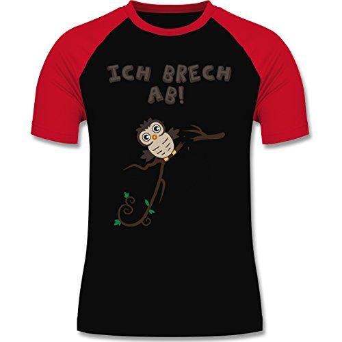 Eulen, Füchse & Co. - Eule bricht ab Eulchen - zweifarbiges Baseballshirt für Männer Schwarz/Rot