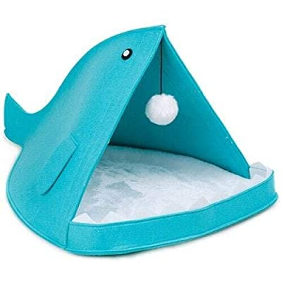 Yangyme Pet home Felt Pet Nest Warm And Comfortable With Hair Ball Toy Warm Upgrade Dog Cat Litter Marine Shark Nest Whale Nest by Yangyme