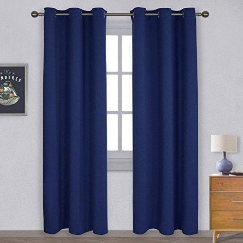 Blickdichte Vorhänge Vorhang mit Ösen - PONY DANCE 210 x 106 cm (H x B), Blau 2 Stücke Verdunkelungsvorhänge Kinderzimmer, Energiespar & Wärmeisolierend,Geeignet für Schlafzimmer, Wohnzimmer (Fenster Volant Blau)