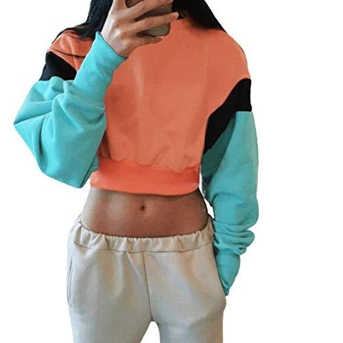 TWIFER Kapuzenpullover Langarm Crop Tops Pullover Damen Patchwork Hoodie Sweatshirt