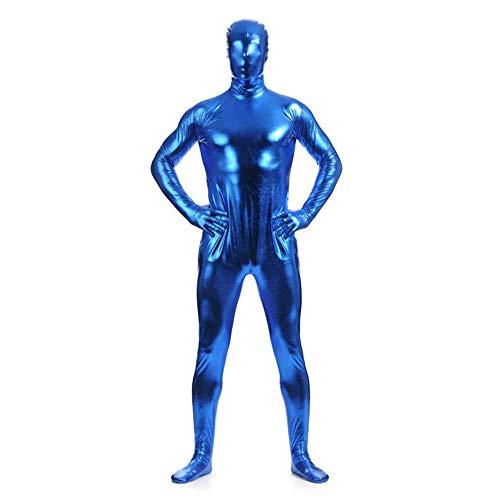 Männer Bodysuit Kostüm - IWEMEK Herren Leder Jumpsuit Wetlook Kunstleder Full Bodysuit Catsuit Glänzed PVC Overall Bodys Zipper Clubwear Männerbody Zentai Kostüm Karneval Erwachsene Ganzkörperanzug Nachtwäsche Blau XL