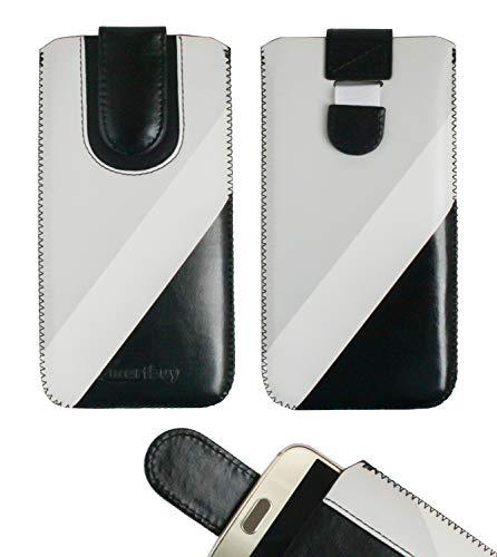 emartbuy Schwarz/Grau Premium-Pu-Leder-Slide In Case Abdeckung Tashe Hülle Sleeve Halter (Größe LM3) Mit Zuglaschen Mechanismus Geeignet Für Die Unten Aufgeführten Smartphones
