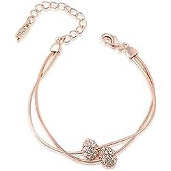 18 K Roségold Damen Armband mit Kristall Anhänger und 17,5 + 5,5 cm verstellbare Armkette