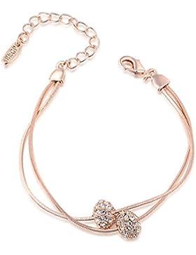 18 K Roségold und Platiniert Damen Armband mit Kristall Kugel Anhänger und 17,5 + 5,5 cm verstellbare Armkette