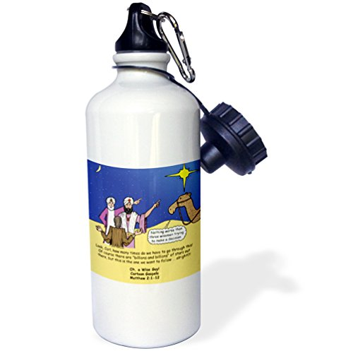 3dRose Matthew 02 01-12 The Wise Men Try to Follow the Stars with Carl Sagan Sports Water Bottle, 21 oz, White