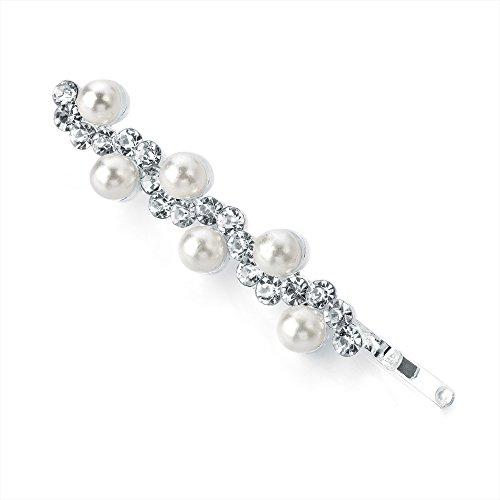 Perle et cristal Motif vague Cheveux Slide Grip broches Jewel 5 cm (5,1 cm)