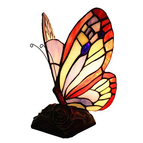 hlampe Glasmalerei Cartoon Schmetterling niedlich für Kinderzimmer Tische Nachtlicht Geschenk Lichter,Warmcolor,15X22CM ()