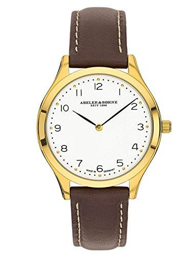 Abeler & Söhne fabricado en Alemania–Reloj de pulsera para mujer con cristal de zafiro y correa de piel as3012